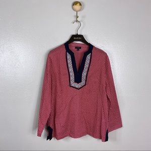 Talbots Petites Red Dot Embroidered Popover Blouse